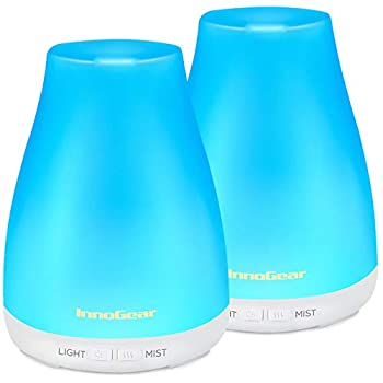 InnoGear 2 Pack 150ml Essential Oil Diffuser Aromatherapy Aroma Diffusers Ultrasonic Cool Mist Humidifier with 7 Colors LED Lights and Waterless Auto Shut-Off for Home Office Bedroom Room White