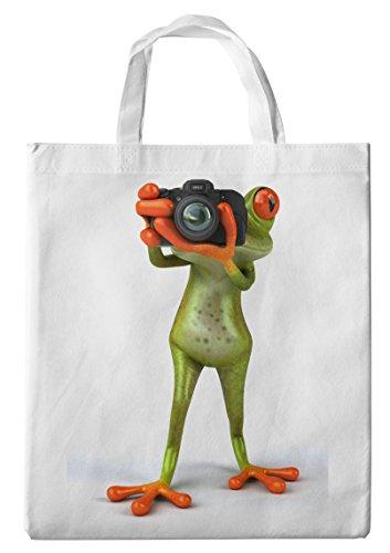 Merchandise for Fans Einkaufstasche- 38x42cm, 8 Liter - Motiv: 3D Comic Frosch fotografiert direkt in die Kamera - 40