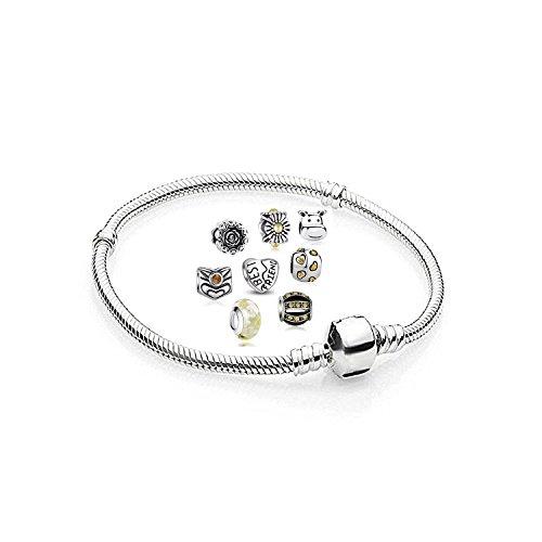 AKKI Charms Armband und 8 Anhänger Starter Set Angebot,Edelstahl Zirkonia Murano Glas bettel Beads Bead Silber Original Perlen Strass Elements Swarovski,Pandora Style kompatibel Schmuck,Gelb 18cm