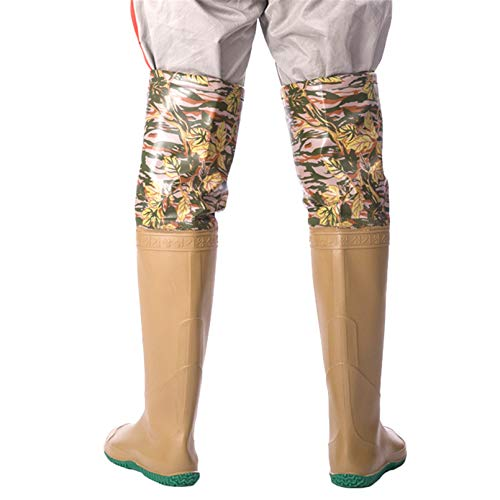 Gomma Watestief, Signore da Uomo PVC/in Nylon Scarpe da Pesca 65Cm High Leggero Stivali da Caccia Impermeabili Ad Alta Tenuta Morbida Suola Antiscivolo Scarpe da Esterno 35-45,Marrone,35