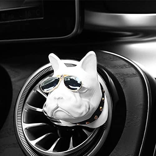 XIAOQIAO Creativo Bulldog Coche con Aire de Aire Perfume Clip de Perfume Fragancia difusor Auto ventilaciones Olor Olor ambientador Perfume Interior decoración Interior (Color Name : White)