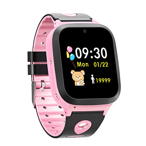 Kid Smartwatch with GPS Tracker, Watch Phone Waterproof for 4-14 Years Old Boys Girls with SOS/Voice Chat/Remote Monitoring, Tracker Smartwatch Compatible with iOS Android, Birthday Toys(Pink)