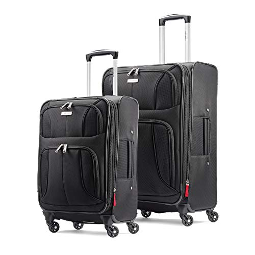 Samsonite Aspire Xlite Softside Expandable Luggage with Spinner Wheels, Black, 2-Piece Set (20/29)