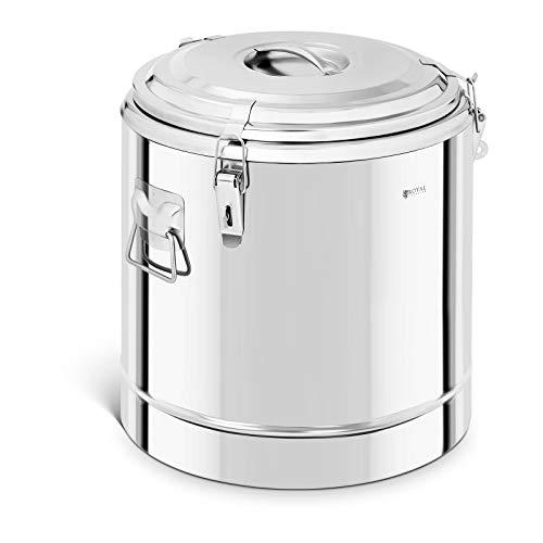 Royal Catering RCTP-35E Thermobehälter Edelstahl 35 L Thermo-Transportbehälter für Essen Thermobox Gastro Warmhaltebehälter für Speisen Thermoport