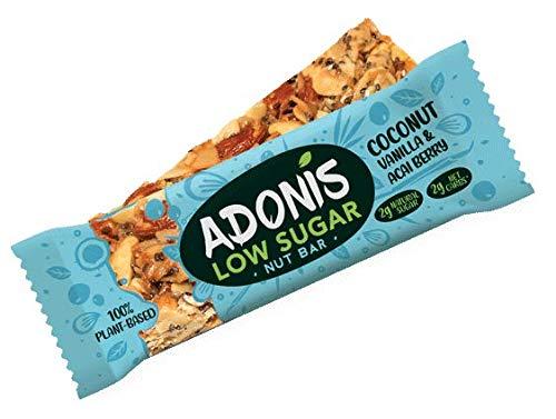 Adonis Low Sugar Bar - Barre aux Amandes et à la Vanille Sans Sucres Ajoutés | 100% Naturelle, Faible teneur en Sucre et Glucides, Sans Gluten, Vegan, Paleo, Superfood (5 barres)