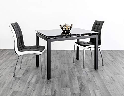 7Star Helen Extendable Dining Table with Faux leather 4pc chairs Black/white set