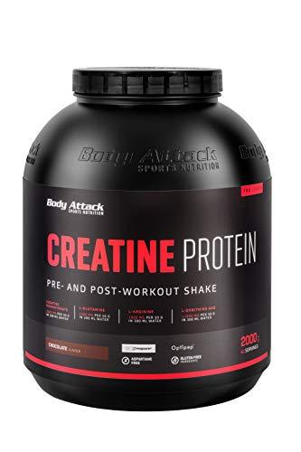 Body Attack Creatine Protein Pre & Post Workout Shake – 2kg (40 Portionen) 3g Creapure, Wheypep, 1,5g Glutamine, 1g Arginine, 1,5g Ornithine AKG pro Shake - glutenfrei- Made in Germany -Chocolate