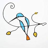 壁飾り ステンドグラス バハリート カワセミ 鳥 バードウォールデコ パネル壁掛け インテリア アン