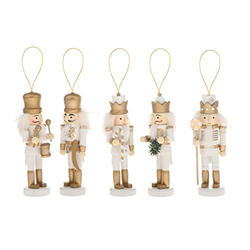 lahomia 5PCS / Set Soldado de Madera Cascanueces Adorno de Muñecos de Marionetas de Navidad con Caja de Regalo - Oro Blanco, Individual