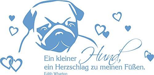 GRAZDesign Wandaufkleber EIN Kleiner Hund Spruch - Wandbilder Wohnzimmer Flur Mops - Wandtattoo Wandspruch Hundesalon / 116x57cm / 640089_57_056