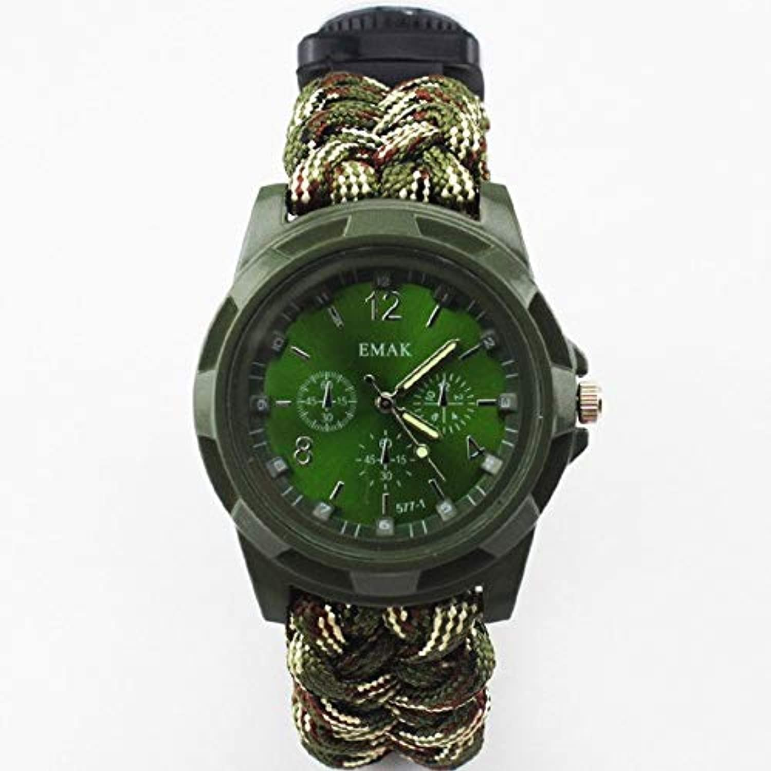Outdoor MultiFunctional Survival Watch Camping Hiking Compass Thermometer Rescue Rope Paracord Bracelet Equipment Tools kit   Camouflage
