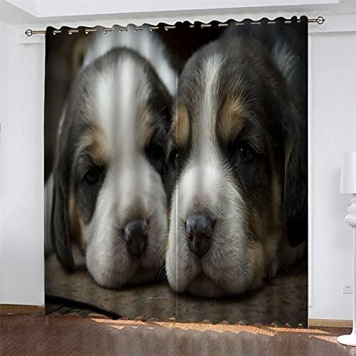 NQING Cortina De Poliéster De Impresión Digital, Sombreado Y Reducción De Ruido De La Serie 3D para Perros, Adecuada para Sala De Estar, Cocina Y Dormitorio 2xAN107xAL242cm