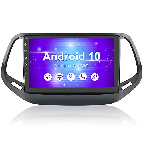 10.1 Inch Car Stereo Radio for Jeep Compass 2017-2020,Android 10 Player Radio with Bluetooth,WiFi,SWC,Mirror Link, Support Navigation GPS 2G RAM 32G ROM