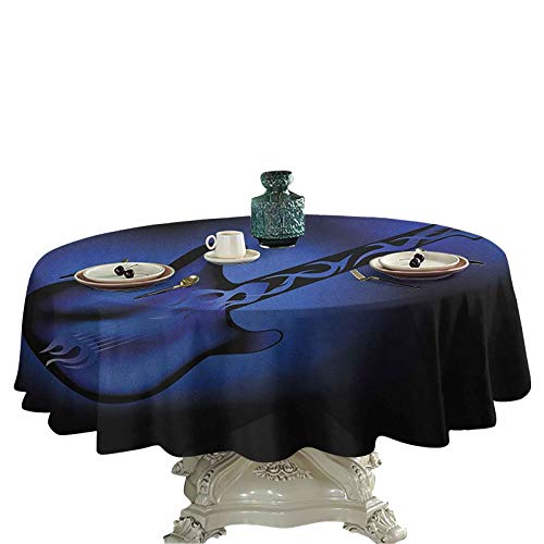 Music Food Round Tablecloth Electric Guitar Bass in Dark Tones Rock and Roll Pop Themed Oldies Instrument Design Outdoor Picnics 54 inch