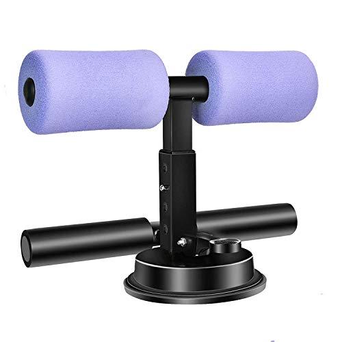 Soporte para ejercicios de piso con ventosa para barra de asiento, dispositivo de asistente sentado, soporte de tobillo acolchado ajustable, equipo de abdominales para viajes de fitness en casa.