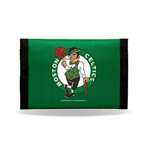 NBA Rico Industries Nylon Trifold Wallet, Boston Celtics,Team Color,3 x 5-inches