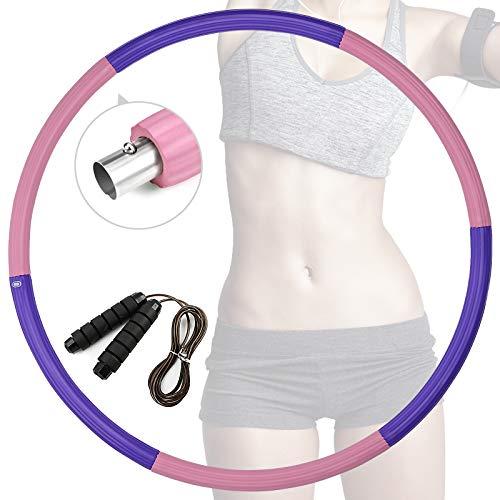 eisaro Hula Hoop - Aro de fitness desmontable con cuerda de saltar de acero inoxidable con espuma de masaje para adultos y jóvenes