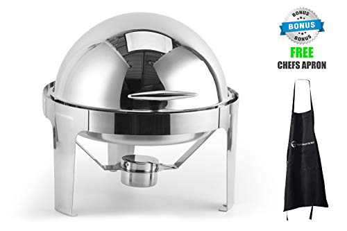 Roll top chafing dish, 6 quarts capacity, stainless steel, color silver, round, durable long-lasting, includes water pan, fuel pan and food pan, keeps food warm for long time, best for appetizers