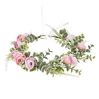 Floral Fall Artificial Baby Breath Flower Halo Wedding Crown Lilac Bridal Headpiece Greenery Crown HC-24  F-pink