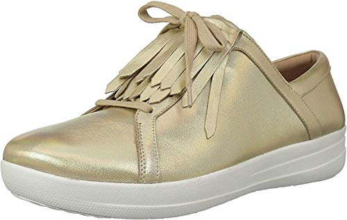 FitFlop Women's F-Sporty II LACE UP Fringe Sneakers, Gold Iridescent, 10 M US