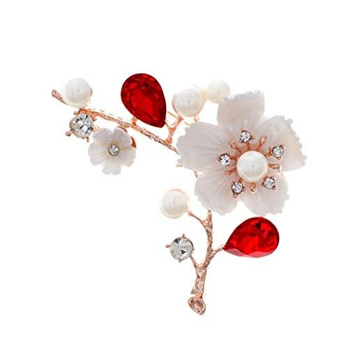 XYW Broche - Shell y Pearl Flower Broche Mujeres Broche de Cristal Rojo Broche de la joyería de la Boda (Metal Color : Red)
