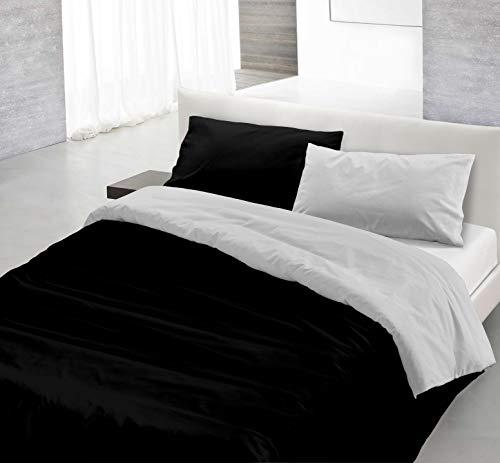 Italian Bed Linen Natural Color Parure Copripiumino con Sacco e Federe, 100% Cotone, nero/grigio chiaro, Matrimoniale, 3 Unità