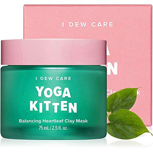 I DEW CARE Yoga Kitten   Balancing Kaolin Clay Face Mask with Heartleaf and Tea Tree Extract   Korean Skincare, Facial Treatment, Vegan, Cruelty-free, Paraben-free