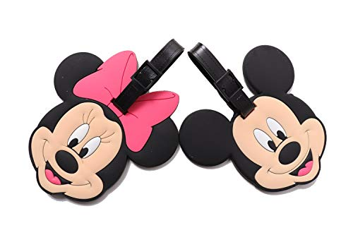 Set of 2 - Super Cute Kawaii Cartoon Silicone Travel Luggage ID Tag for Bags (Mickey and Minnie 2)