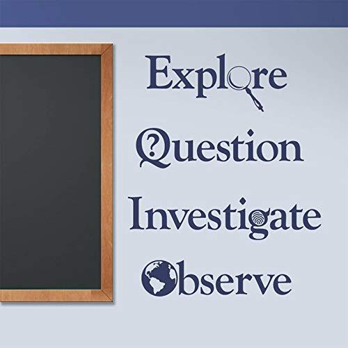 JXCDNB Klassenzimmer Aufkleber, Erkundung, Fragen, Umfragen, Beobachtungen, Vinyl Wandaufkleber Lehrer, Dekoration 85,5x106,5cm