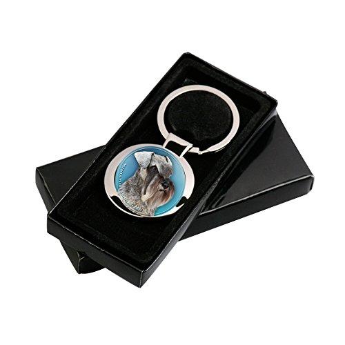 Schnauzer miniatura llavero en paquete de regalo.