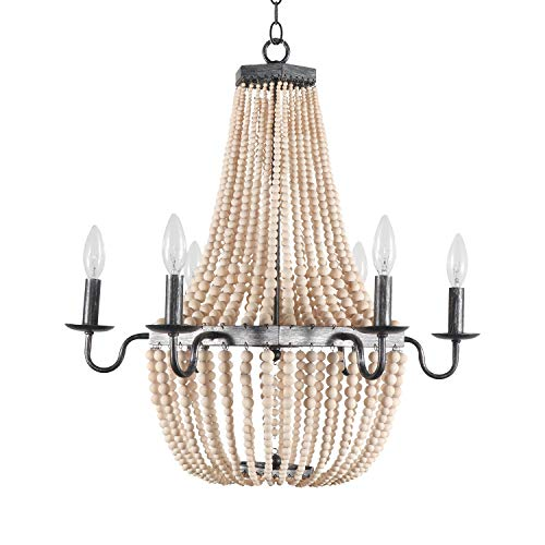 Modern 6-Light Wood Beaded Ceiling Pendant Chandelier Farmhouse Style Wooden Beads Metal Chandeliers Home Decor Lamp for Kitchen Island, Dining Room, Bedroom, Foyer, Entryways, Bar, Loft