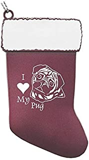 Pewter Christmas Stocking Ornament-I love my Pug-Pink