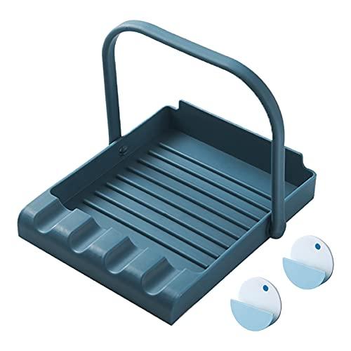 Sancanno Poggiamestolo da Cucina, Porta del Coperchio di Pentole Porta Cucchiaio da Minestra in Silicone, Poggia Cucchiaio, Copri Pentola Supporto Blu