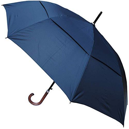 COLLAR AND CUFFS LONDON - Windproof 134 cm Bogen - Holzgriff - SEHR STARK - Verstärkt mit Fiberglas - StormDefender City - Ventilationsbezug - Automatik Stockschirm - Regenschirm - Marineblau - Blau