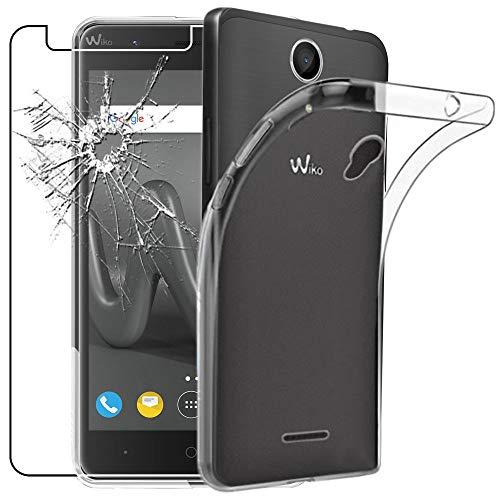ebestStar - kompatibel mit Wiko Harry Hülle Handyhülle [Ultra Dünn], Durchsichtige Klar Flex Silikon Schutzhülle, Transparent + Panzerglas Schutzfolie [Phone: 145 x 72.7 x 9.15mm, 5.0'']