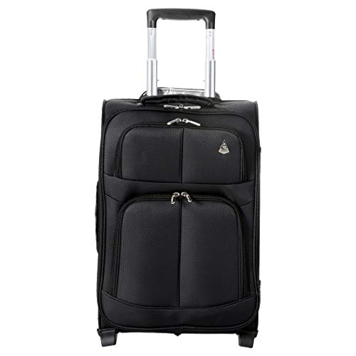 Aerolite 55x35x20 Super Lightweight 2 Wheel 34L Upright Carry On Hand Cabin Luggage Suitcase - Approved for Ryanair, easyJet, British Airways, Virgin Atlantic, Flybe and Many More (Black)