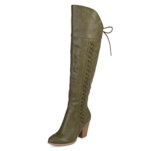 Brinley Co. Womens Spritz-P Distressed Faux Leather Faux Lace-up Over-the-knee Boots, Olive, 8 Regular US