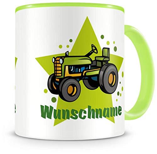 Samunshi® Kinder-Tasse mit Namen und einem Alten Trecker Traktor als Motiv Bild Kaffeetasse Teetasse Becher Kakaotasse Nr.2: grün H:95mm / D:82mm