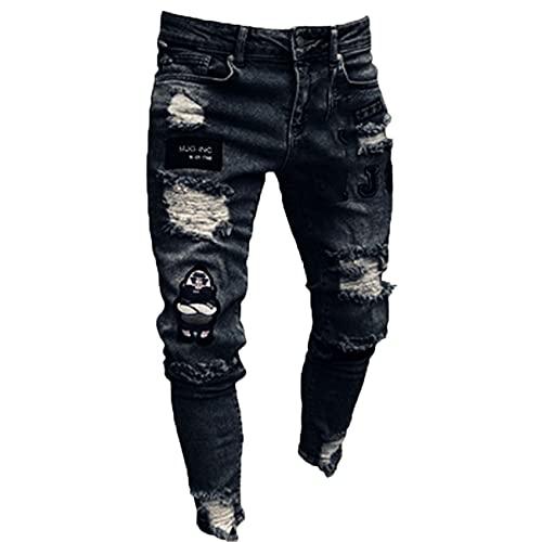 Pantalones Viejos Ajustados Hombres, Pantalones Vaqueros Ajustados con Parche ArtíStico, Pantalones Ajustados para Motocicleta
