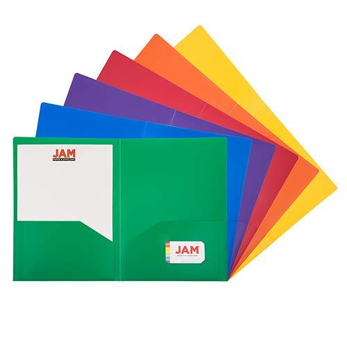 JAM PAPER Hochleistungs A4 Kunststoff Präsentationsmappe mit 2 Taschen - 230 x 310 mm - Sortierte Primärfarben - 6/Packungung