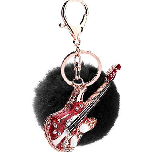 Dekor bommel Keychain Schlüsselanhänger plüsch Ball glänzend Mini Gitarre Strass Plüsch-Kugel Autoschlüssel-Anhänger Pompom Weich Schlüsselring Handtaschenanhänger Glücksbringer Geschenk (Schwarz)