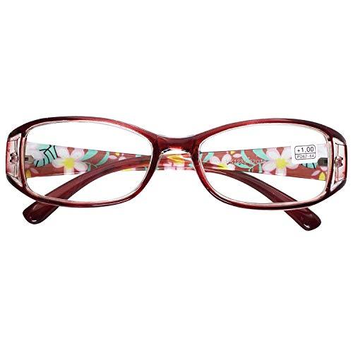 VEVESMUNDO Gafas de Lectura Mujeres Hombres Flores Estrechas Ojo de Gato Calidad Vintage Retro Leer Graduadas Vista Presbicia Lejos 1.0 1.5 2.0 2.5 3.0 3.5 4.0 4.5 5.0 5.5 6.0 (2.5, Rojo)