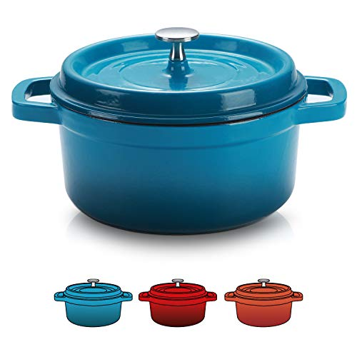 SULIVES Enameled Cast Iron Dutch Oven Bread Baking Pot with Lid,Peacock Blue,1.5qt