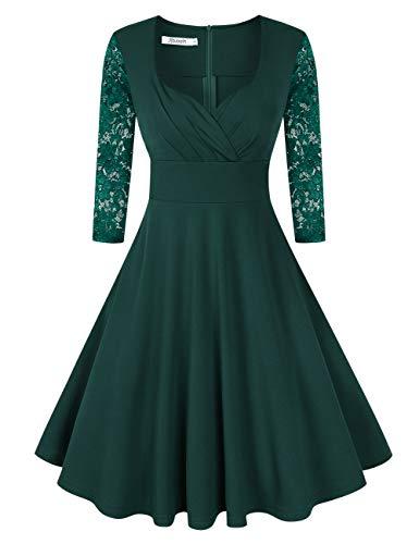 KOJOOIN Damen 50er Vintage Kleid Retro/Cocktailkleid/Abendkleid/Ballkleid Rockabilly V-Ausschnitt Kleid Knielang Langarm Dunkelgrün XL