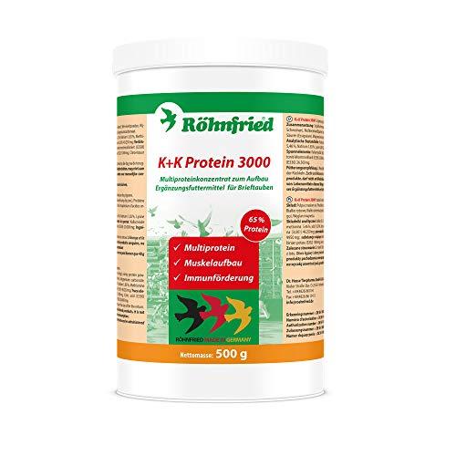 Röhnfried – K + K Protein 3000 Multiprotein | Für den Muskelaufbau bei Brieftauben | Unterstützt die Verdauung und das Immunsystem (500 g)
