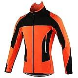TSMALL Chaqueta de Ciclismo térmica de Invierno para Hombre, Abrigo de Bicicleta MTB Impermeable a Prueba de Viento, Ropa Reflectante Deportiva,Naranja,L