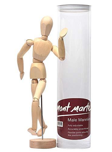 MONT MARTE Maniqui Dibujo - Mannekin Masculino de 30cm – Muñeco articulado, Marioneta de Madera, Maniquí flexible, ideal como Modelo para Dibujar - Perfecto Para Principiantes, Profesionales, Artistas
