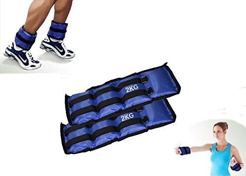 Mediawave Store - Coppia di Pesi per Caviglie e Polsi, Polsiere Cavigliere sportive da 2 KG Fitness Jogging Palestra, Migliorare tono muscolare, Sport a casa (2 x 1KG)