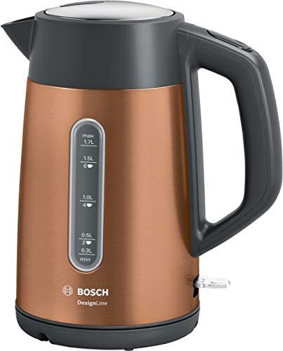 Bosch TWK4P439 DesignLine kabelloser Wasserkocher, Ausgießen ohne Spritzer, Tassenanzeige, Wasserstandsanzeige beidseitig, Überhitzungsschutz, 1,7 L, 2400 W, kupfer