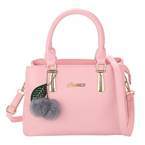 Luojida PU Handtasche Damen Umhängetasche mit Ball Geschenk für Mädchen 30x22x12 cm (Pink)